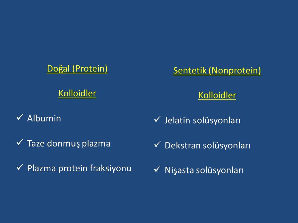 Doğal (Protein) Kolloidler Albumin Taze donmuş plazma Plazma protein fraksiyonu Sentetik (Nonprotein) Kolloidler Jelatin solüsyonları Dekstran solüsyonları Nişasta solüsyonları