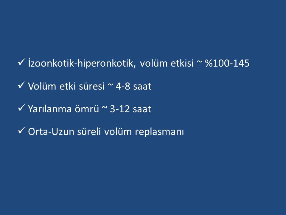 İzoonkotik-hiperonkotik, volüm etkisi ~ %100-145 Volüm etki süresi ~ 4-8 saat Yarılanma ömrü ~ 3-12 saat Orta-Uzun süreli volüm replasmanı