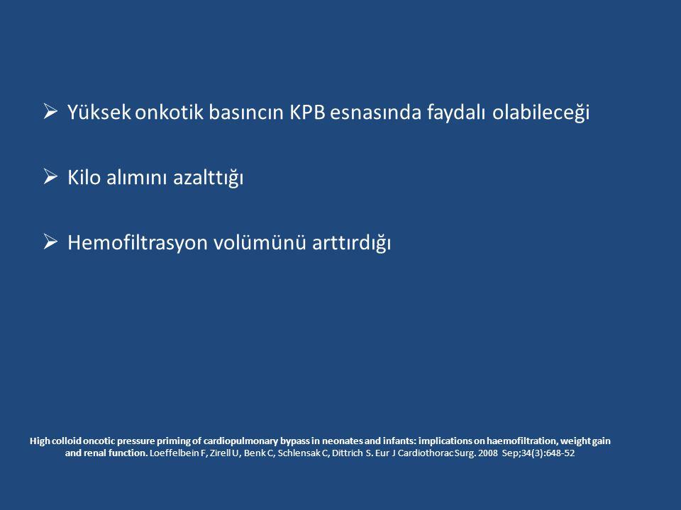  Yüksek onkotik basıncın KPB esnasında faydalı olabileceği  Kilo alımını azalttığı  Hemofiltrasyon volümünü arttırdığı