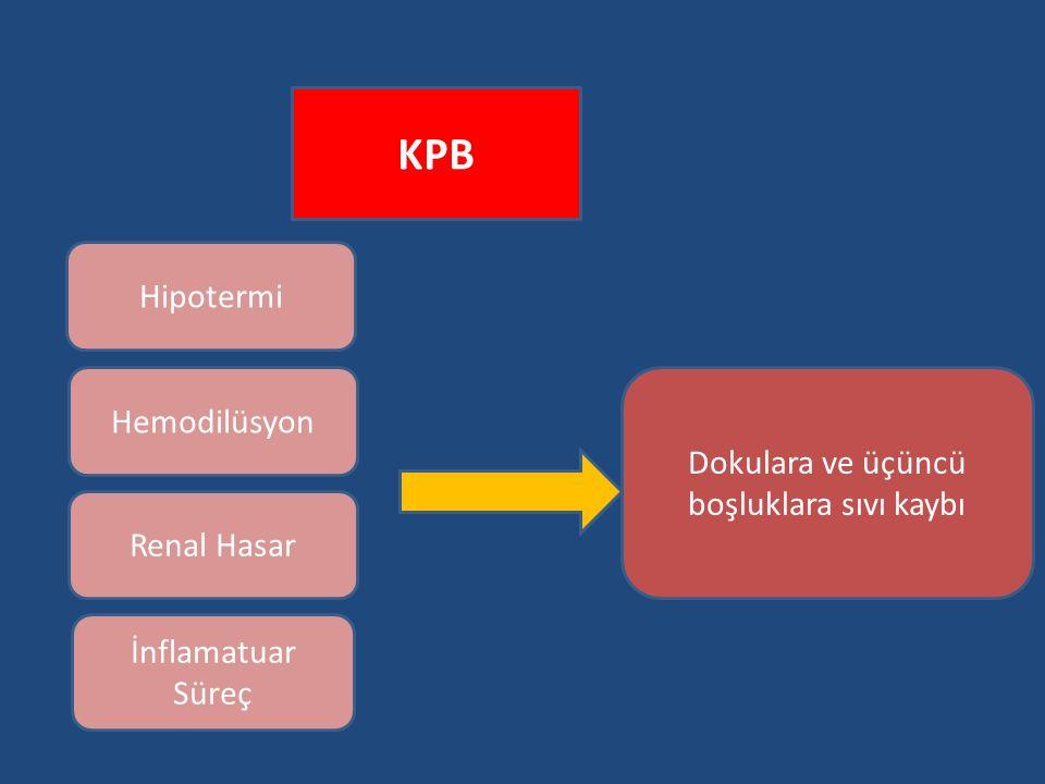 KPB Hipotermi Hemodilüsyon Renal Hasar İnflamatuar Süreç Dokulara ve üçüncü boşluklara sıvı kaybı