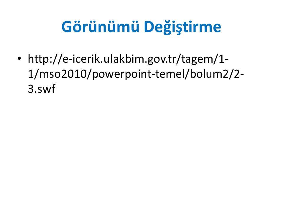 Görünümü Değiştirme http://e-icerik.ulakbim.gov.tr/tagem/1- 1/mso2010/powerpoint-temel/bolum2/2- 3.swf