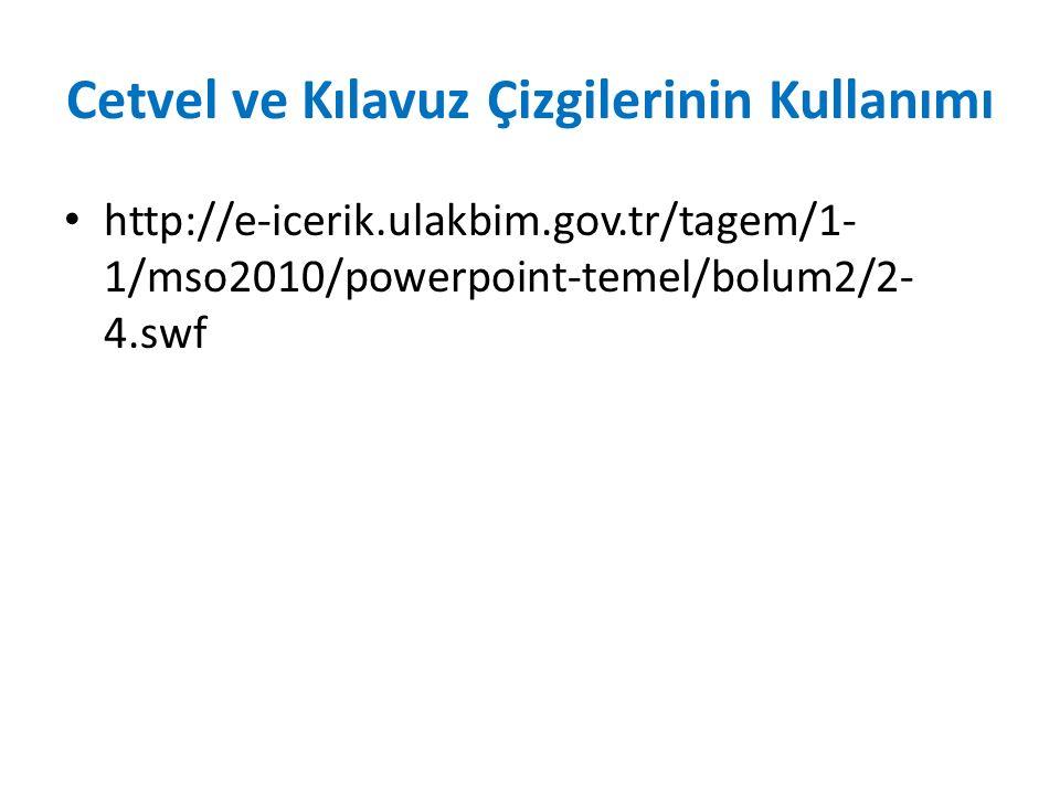 Cetvel ve Kılavuz Çizgilerinin Kullanımı http://e-icerik.ulakbim.gov.tr/tagem/1- 1/mso2010/powerpoint-temel/bolum2/2- 4.swf