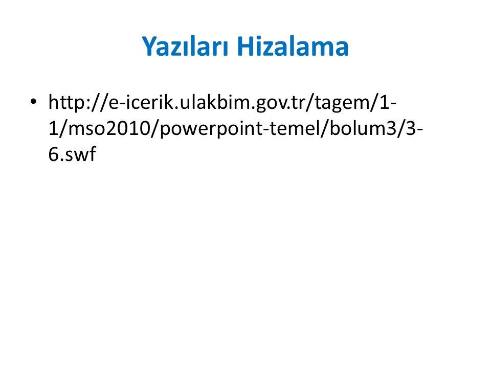 Yazıları Hizalama http://e-icerik.ulakbim.gov.tr/tagem/1- 1/mso2010/powerpoint-temel/bolum3/3- 6.swf