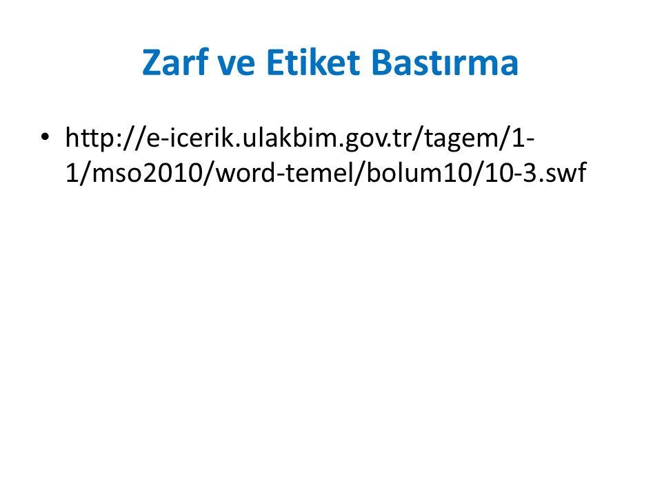 Zarf ve Etiket Bastırma http://e-icerik.ulakbim.gov.tr/tagem/1- 1/mso2010/word-temel/bolum10/10-3.swf