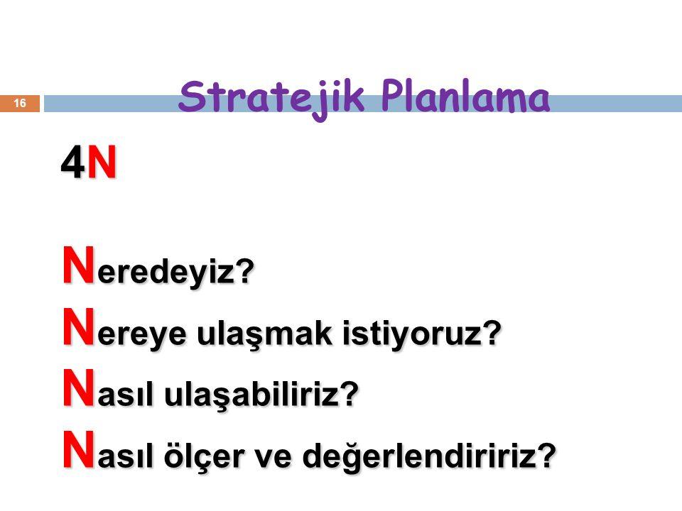 Stratejik Planlama 16 4N N eredeyiz. N ereye ulaşmak istiyoruz.
