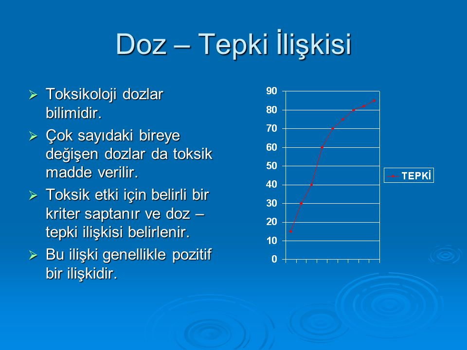 Doz – Tepki İlişkisi  Toksikoloji dozlar bilimidir.  Çok sayıdaki bireye değişen dozlar da toksik madde verilir.  Toksik etki için belirli bir krit