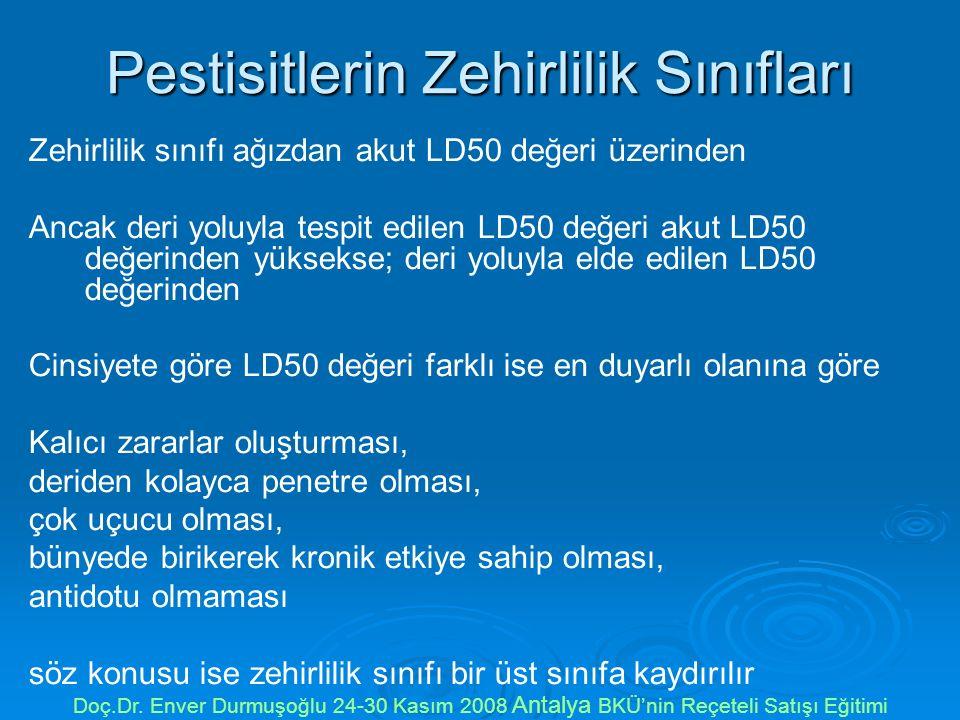 Pestisitlerin Zehirlilik Sınıfları Zehirlilik sınıfı ağızdan akut LD50 değeri üzerinden Ancak deri yoluyla tespit edilen LD50 değeri akut LD50 değerinden yüksekse; deri yoluyla elde edilen LD50 değerinden Cinsiyete göre LD50 değeri farklı ise en duyarlı olanına göre Kalıcı zararlar oluşturması, deriden kolayca penetre olması, çok uçucu olması, bünyede birikerek kronik etkiye sahip olması, antidotu olmaması söz konusu ise zehirlilik sınıfı bir üst sınıfa kaydırılır Doç.Dr.
