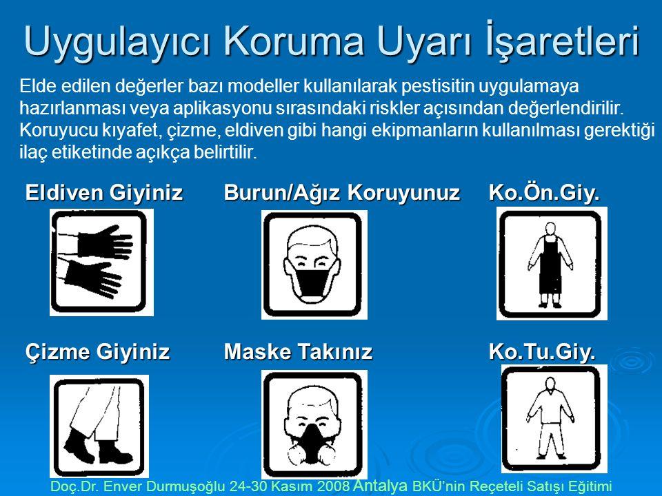 Uygulayıcı Koruma Uyarı İşaretleri Doç.Dr. Enver Durmuşoğlu 24-30 Kasım 2008 Antalya BKÜ'nin Reçeteli Satışı Eğitimi Eldiven GiyinizBurun/Ağız Koruyun