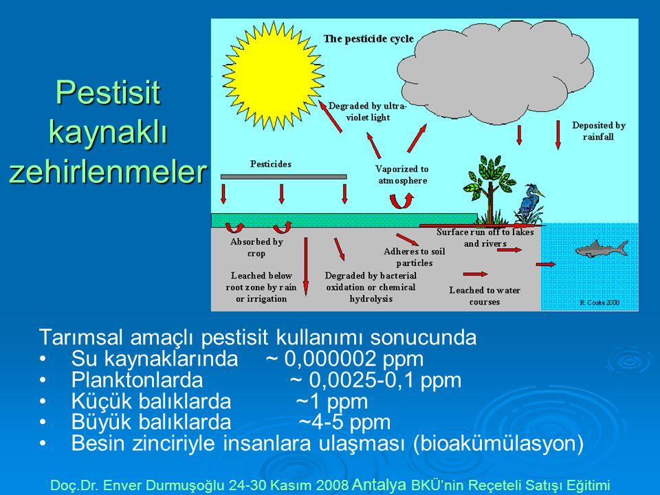 Pestisit kaynaklı zehirlenmeler Tarımsal amaçlı pestisit kullanımı sonucunda Su kaynaklarında ~ 0,000002 ppm Planktonlarda ~ 0,0025-0,1 ppm Küçük balıklarda ~1 ppm Büyük balıklarda ~4-5 ppm Besin zinciriyle insanlara ulaşması (bioakümülasyon) Doç.Dr.