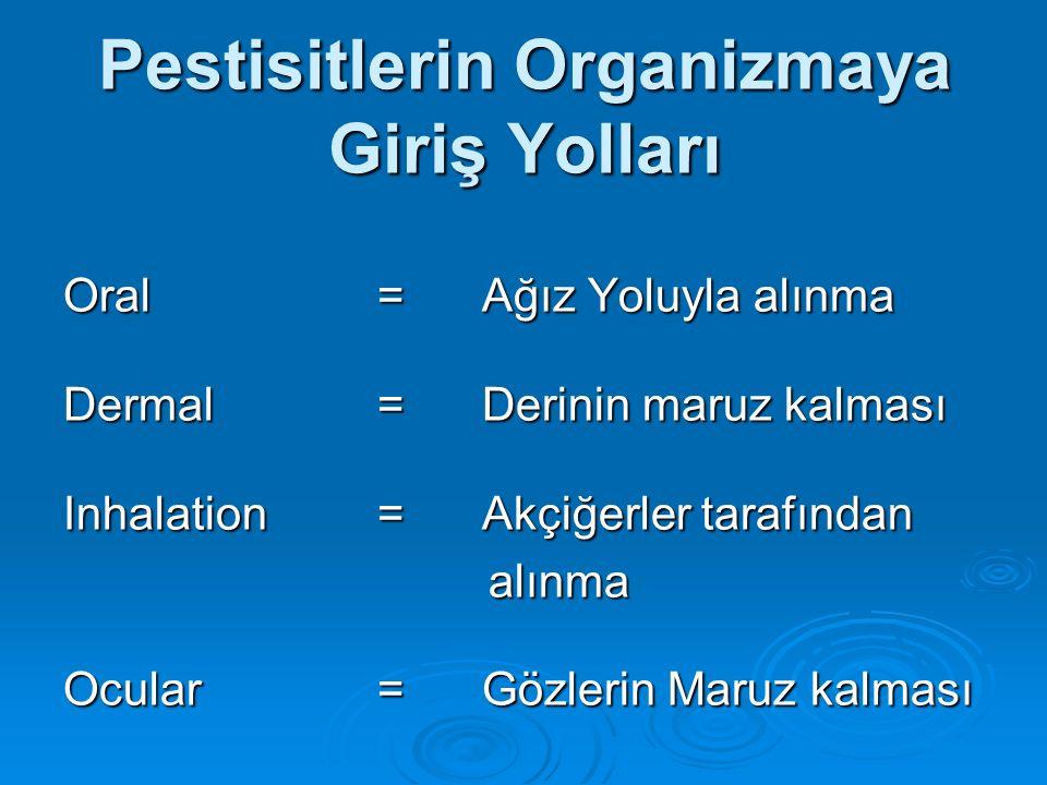 Pestisitlerin Organizmaya Giriş Yolları Oral=Ağız Yoluyla alınma Dermal=Derinin maruz kalması Inhalation=Akçiğerler tarafından alınma alınma Ocular= G