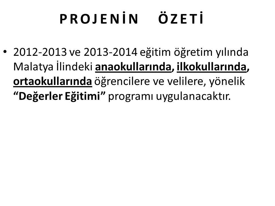 PROJENİN ÖZETİ 2012-2013 ve 2013-2014 eğitim öğretim yılında Malatya İlindeki anaokullarında, ilkokullarında, ortaokullarında öğrencilere ve velilere,