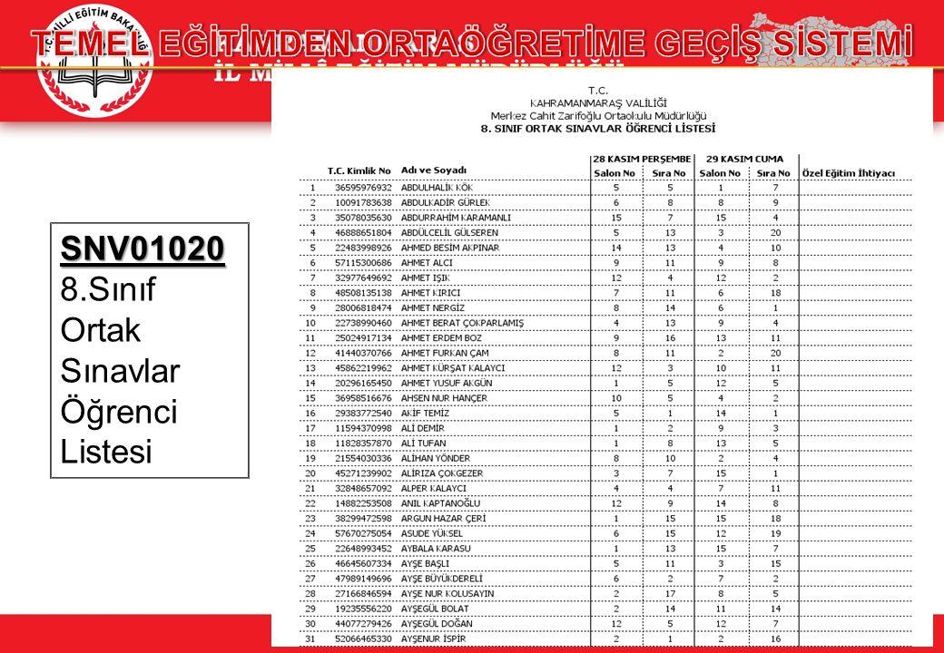 SNV01020 SNV01020 8.Sınıf Ortak Sınavlar Öğrenci Listesi