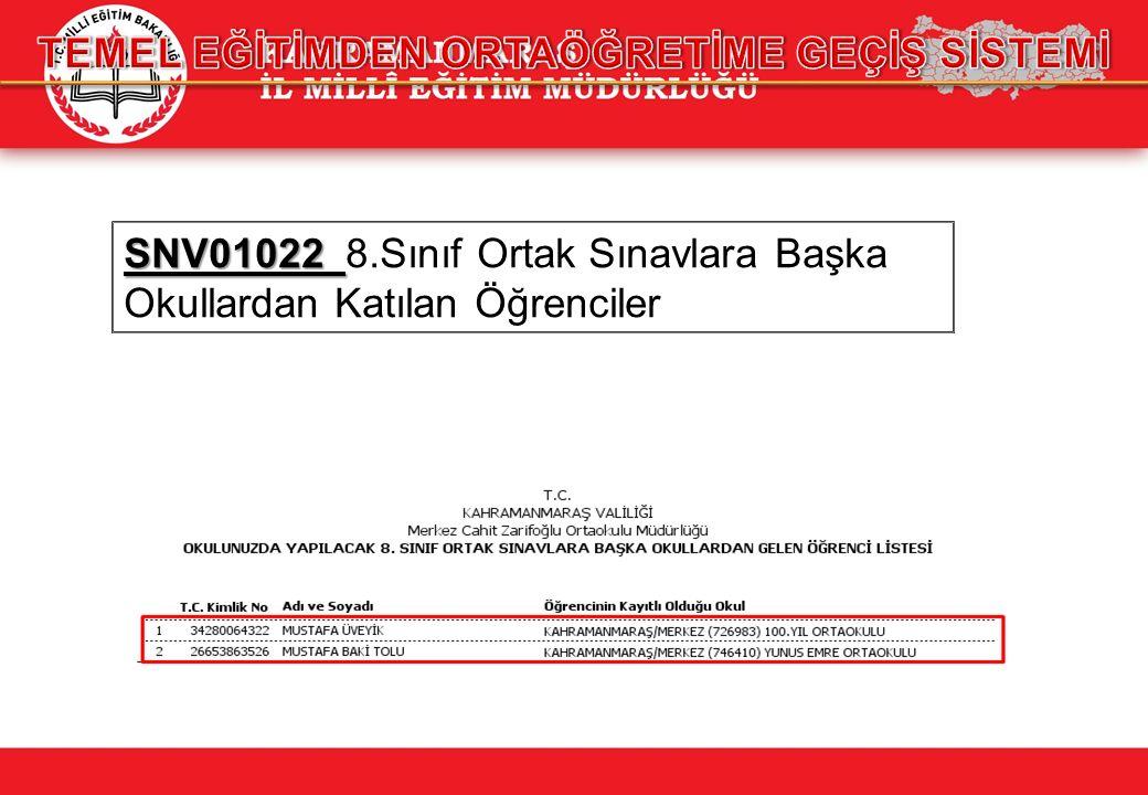 SNV01022 SNV01022 8.Sınıf Ortak Sınavlara Başka Okullardan Katılan Öğrenciler