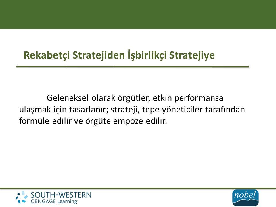 Rekabetçi Stratejiden İşbirlikçi Stratejiye Geleneksel olarak örgütler, etkin performansa ulaşmak için tasarlanır; strateji, tepe yöneticiler tarafından formüle edilir ve örgüte empoze edilir.