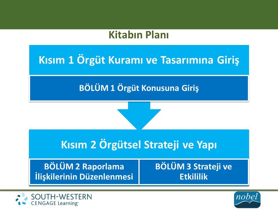 Kitabın Planı Kısım 2 Örgütsel Strateji ve Yapı BÖLÜM 2 Raporlama İlişkilerinin Düzenlenmesi BÖLÜM 3 Strateji ve Etkililik Kısım 1 Örgüt Kuramı ve Tasarımına Giriş BÖLÜM 1 Örgüt Konusuna Giriş