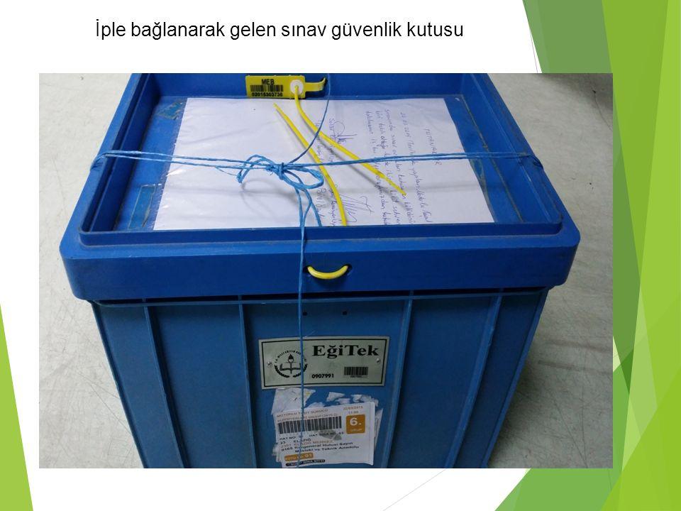 İple bağlanarak gelen sınav güvenlik kutusu