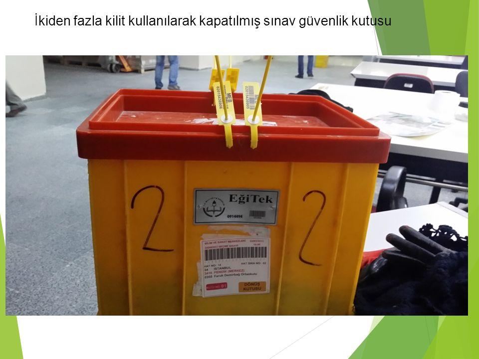 İkiden fazla kilit kullanılarak kapatılmış sınav güvenlik kutusu