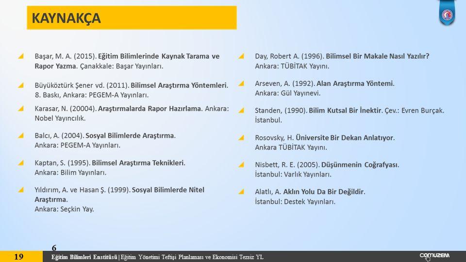 Eğitim Bilimleri Enstitüsü | Eğitim Yönetimi Teftişi Planlaması ve Ekonomisi Tezsiz YL 19