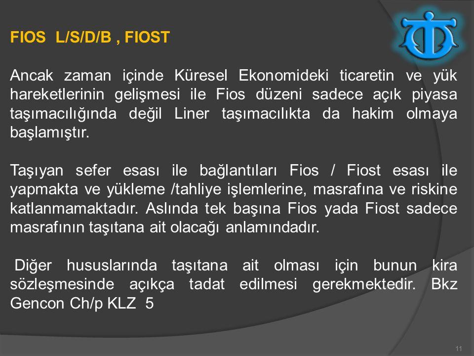 11 FIOS L/S/D/B, FIOST Ancak zaman içinde Küresel Ekonomideki ticaretin ve yük hareketlerinin gelişmesi ile Fios düzeni sadece açık piyasa taşımacılığ