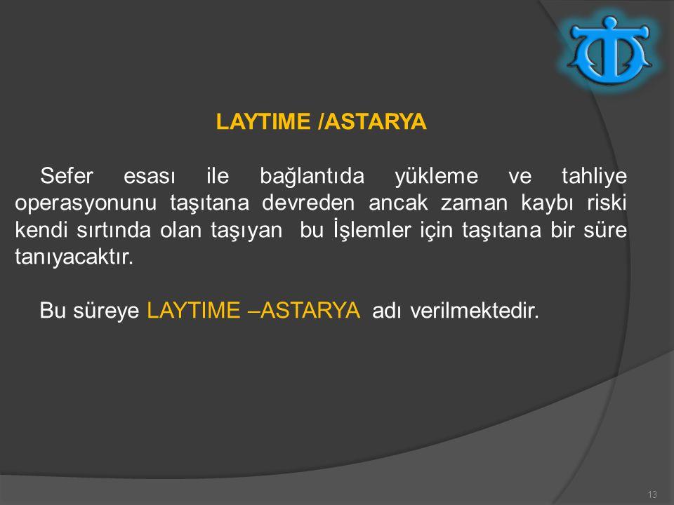 13 LAYTIME /ASTARYA Sefer esası ile bağlantıda yükleme ve tahliye operasyonunu taşıtana devreden ancak zaman kaybı riski kendi sırtında olan taşıyan b