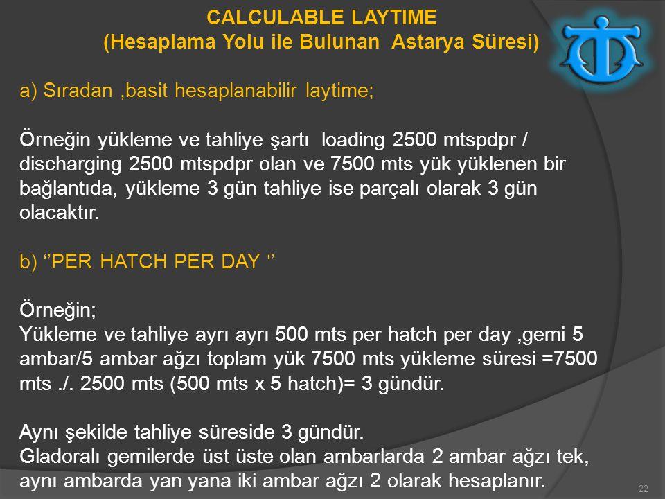 22 CALCULABLE LAYTIME (Hesaplama Yolu ile Bulunan Astarya Süresi) a) Sıradan,basit hesaplanabilir laytime; Örneğin yükleme ve tahliye şartı loading 25