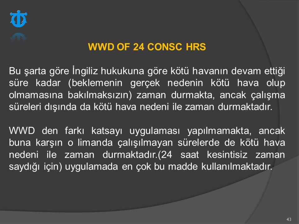 43 WWD OF 24 CONSC HRS Bu şarta göre İngiliz hukukuna göre kötü havanın devam ettiği süre kadar (beklemenin gerçek nedenin kötü hava olup olmamasına b