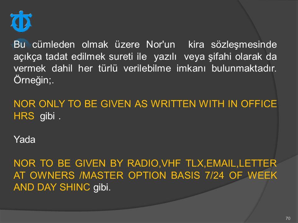 70 Bu cümleden olmak üzere Nor'un kira sözleşmesinde açıkça tadat edilmek sureti ile yazılı veya şifahi olarak da vermek dahil her türlü verilebilme i