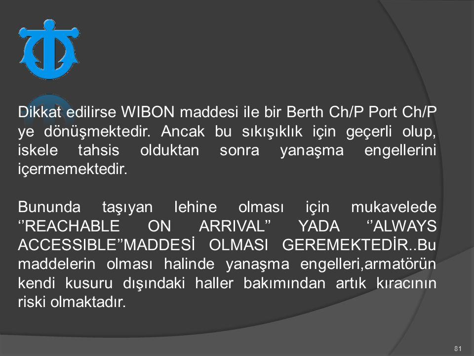 81 Dikkat edilirse WIBON maddesi ile bir Berth Ch/P Port Ch/P ye dönüşmektedir. Ancak bu sıkışıklık için geçerli olup, iskele tahsis olduktan sonra ya