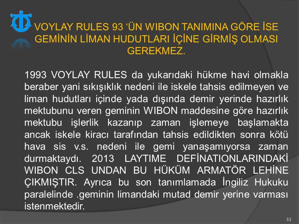 82 VOYLAY RULES 93 'ÜN WIBON TANIMINA GÖRE İSE GEMİNİN LİMAN HUDUTLARI İÇİNE GİRMİŞ OLMASI GEREKMEZ. 1993 VOYLAY RULES da yukarıdaki hükme havi olmakl