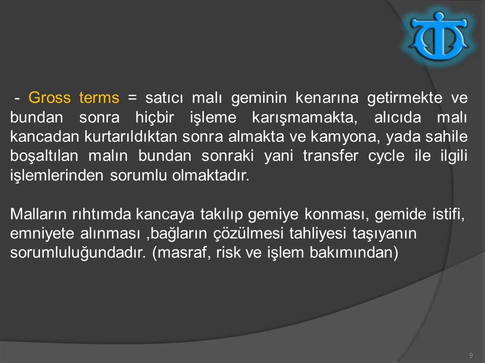 10 -Liner terms Rail to Rail; bir çok limanda PLTC ye göre liner terms masraf, sorumluluk ve işlem bakımından gemi railinden gemi railine kadar olan işlemin taşıyan tarafından yapılmasına amirdir.