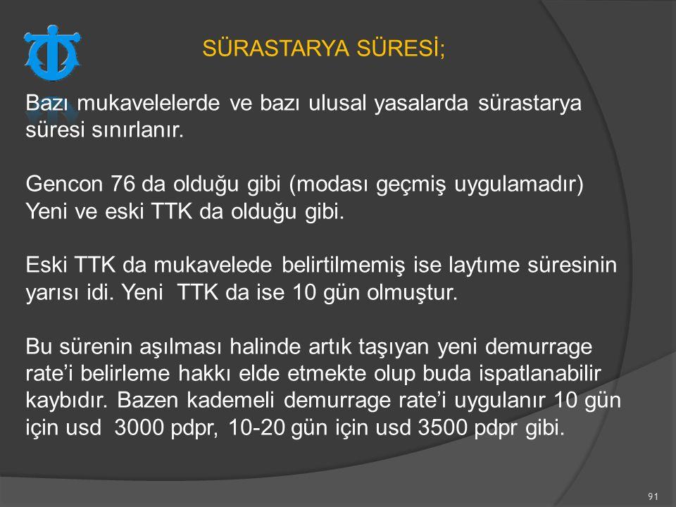 91 SÜRASTARYA SÜRESİ; Bazı mukavelelerde ve bazı ulusal yasalarda sürastarya süresi sınırlanır. Gencon 76 da olduğu gibi (modası geçmiş uygulamadır) Y