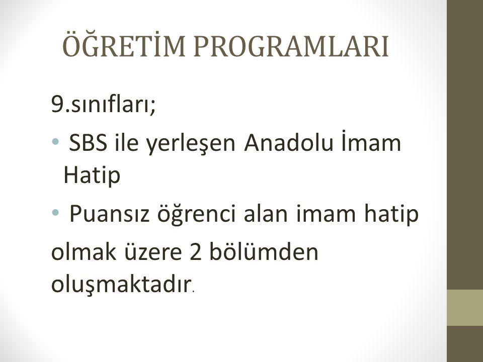ÖĞRETİM PROGRAMLARI 9.sınıfları; SBS ile yerleşen Anadolu İmam Hatip Puansız öğrenci alan imam hatip olmak üzere 2 bölümden oluşmaktadır.