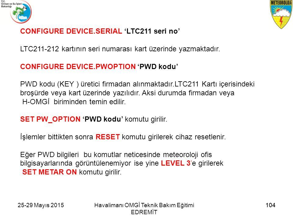 Havalimanı OMGİ Teknik Bakım Eğitimi EDREMİT CONFIGURE DEVICE.SERIAL 'LTC211 seri no' LTC211-212 kartının seri numarası kart üzerinde yazmaktadır. CON