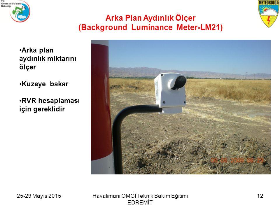 12 Arka plan aydınlık miktarını ölçer Kuzeye bakar RVR hesaplaması için gereklidir Arka Plan Aydınlık Ölçer (Background Luminance Meter-LM21) Havalima