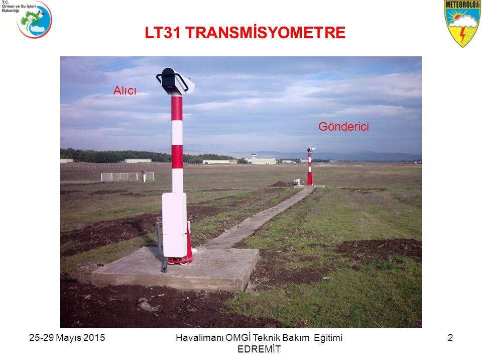 GÖRÜŞ MESAFESİ ÖLÇER (TRANSMİSYOMETRE) TERİMLER : Baseline: Alıcı ile Gönderici arasındaki uzaklık ( 30 veya 75 m.) Transmissometer: Görüş Mesafesi Ölçer Transmittance: Alıcı ile Gönderici arasındaki havanın ışık geçirgenliği Contamination: Cam yüzeylerdeki kirlilik miktarı Flash Lamp: Flaş Lambası, Işık Kaynağı Present Weather Detector (PWD): Hali Hazır Hava Sensörü Transmitter: Işık Gönderici ( Verici) Receiver: Işık Alıcı Back Ground Luminance Meter: Arka Plan Aydınlık Ölçer Alignment : Optik Hizalama Ayarı MOR (Meteorological Optical Range): Meteorolojik Optik Görüş Mesafesi (m) RVR (Runway Visual Range): Pist Görüş Mesafesi Havalimanı OMGİ Teknik Bakım Eğitimi EDREMİT 325-29 Mayıs 2015