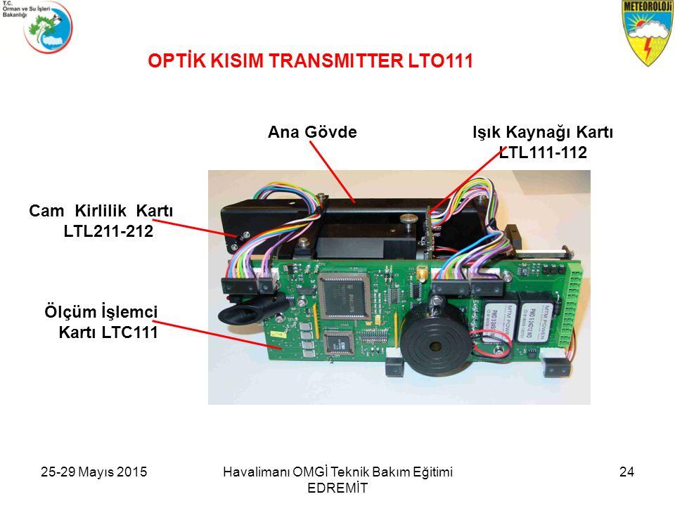 OPTİK KISIM TRANSMITTER LTO111 Işık Kaynağı Kartı LTL111-112 Ana Gövde Cam Kirlilik Kartı LTL211-212 Ölçüm İşlemci Kartı LTC111 Havalimanı OMGİ Teknik