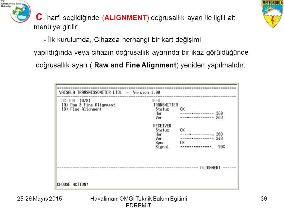 C harfi seçildiğinde (ALIGNMENT) doğrusallık ayarı ile ilgili alt menü'ye girilir: - İlk kurulumda, Cihazda herhangi bir kart değişimi yapıldığında ve