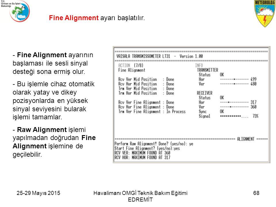 Fine Alignment ayarı başlatılır. - Fine Alignment ayarının başlaması ile sesli sinyal desteği sona ermiş olur. - Bu işlemle cihaz otomatik olarak yata
