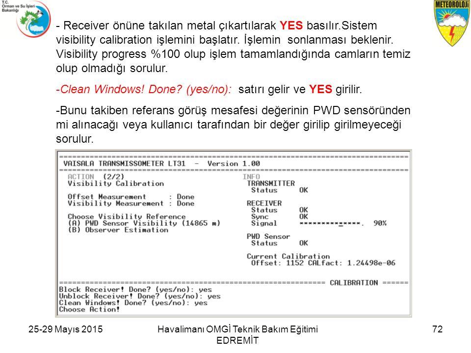 - Receiver önüne takılan metal çıkartılarak YES basılır.Sistem visibility calibration işlemini başlatır. İşlemin sonlanması beklenir. Visibility progr