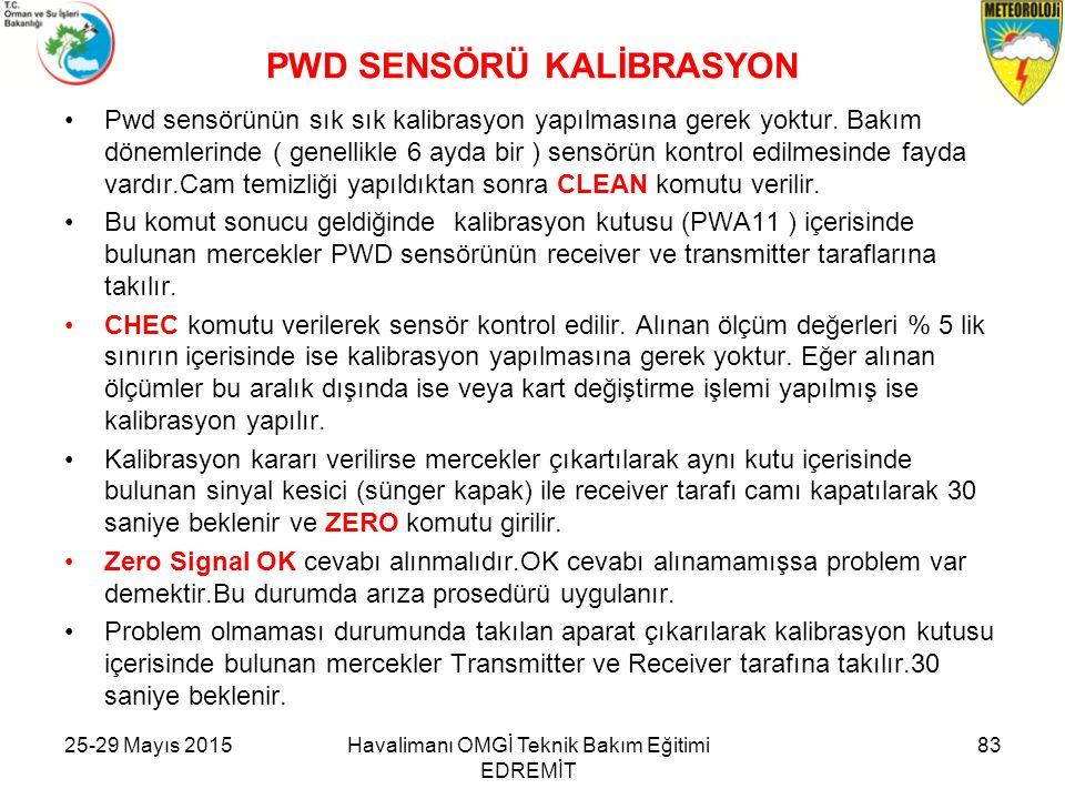 PWD SENSÖRÜ KALİBRASYON Pwd sensörünün sık sık kalibrasyon yapılmasına gerek yoktur. Bakım dönemlerinde ( genellikle 6 ayda bir ) sensörün kontrol edi