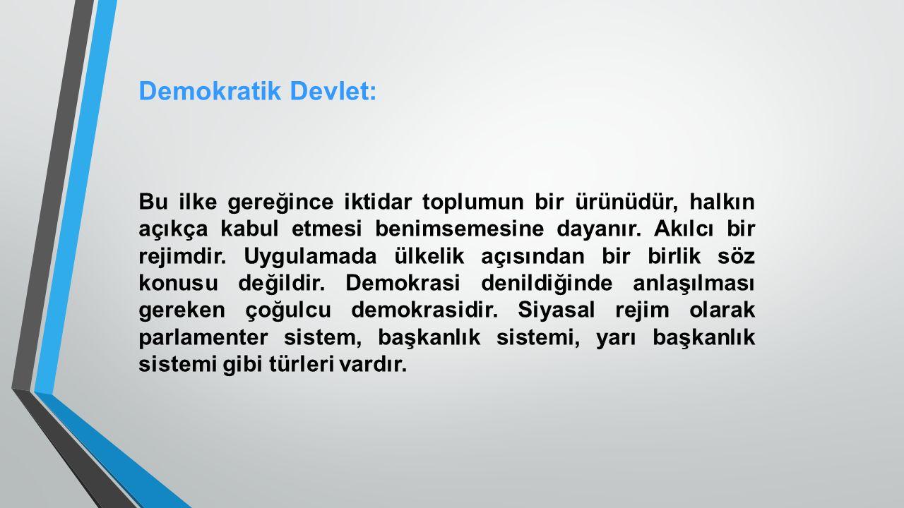Demokratik Devlet: Bu ilke gereğince iktidar toplumun bir ürünüdür, halkın açıkça kabul etmesi benimsemesine dayanır.