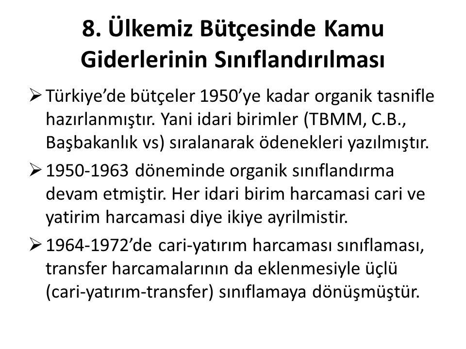 8. Ülkemiz Bütçesinde Kamu Giderlerinin Sınıflandırılması  Türkiye'de bütçeler 1950'ye kadar organik tasnifle hazırlanmıştır. Yani idari birimler (TB