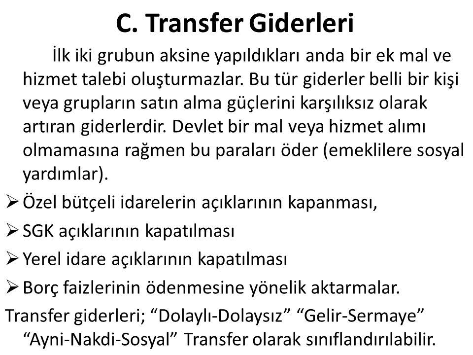 C. Transfer Giderleri İlk iki grubun aksine yapıldıkları anda bir ek mal ve hizmet talebi oluşturmazlar. Bu tür giderler belli bir kişi veya grupların