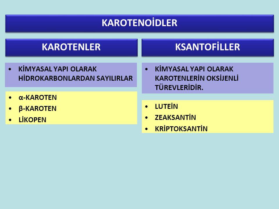 ÖNEMLİ BESİNSEL KAROTENOİDLER β-karoten α- karoten Lutein β- kriptoksantin Zeaksantin Likopen β-karoten: Gıda karotenoidleri içerisinde en yaygın olanıdır.