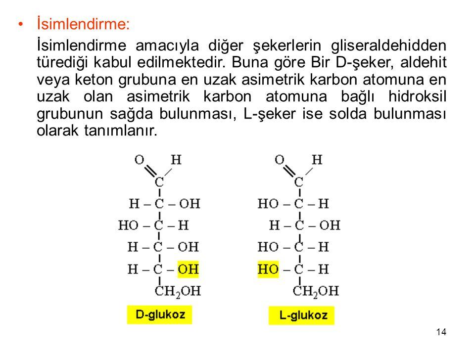 14 İsimlendirme: İsimlendirme amacıyla diğer şekerlerin gliseraldehidden türediği kabul edilmektedir.