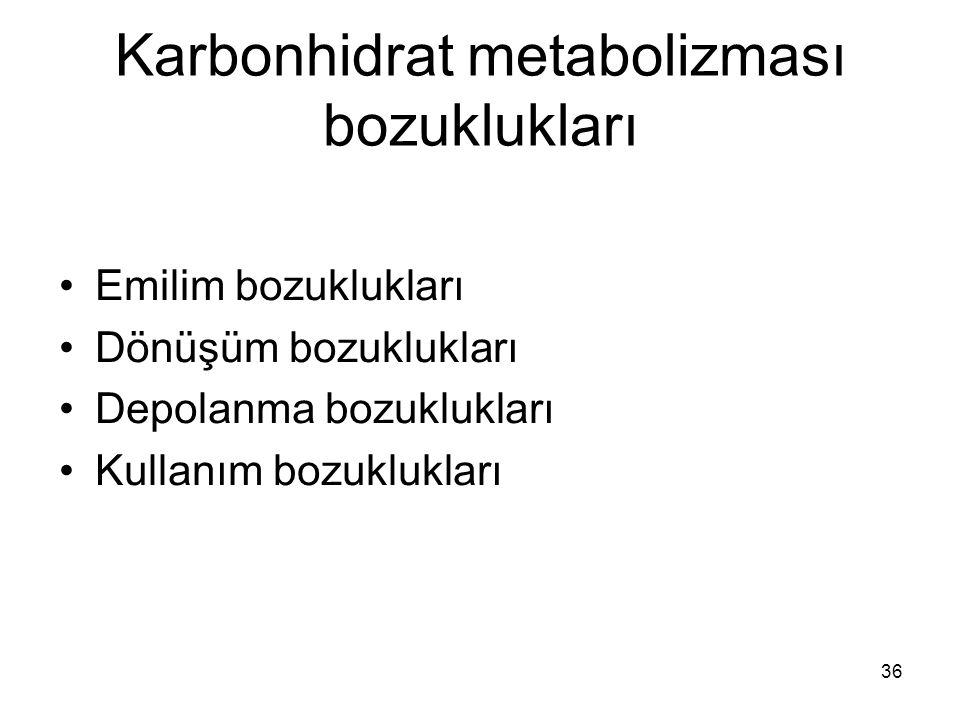 36 Karbonhidrat metabolizması bozuklukları Emilim bozuklukları Dönüşüm bozuklukları Depolanma bozuklukları Kullanım bozuklukları