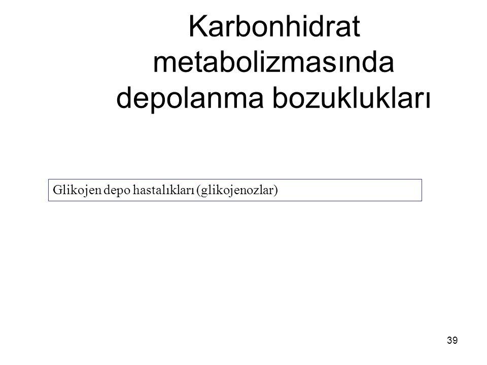 39 Karbonhidrat metabolizmasında depolanma bozuklukları Glikojen depo hastalıkları (glikojenozlar)