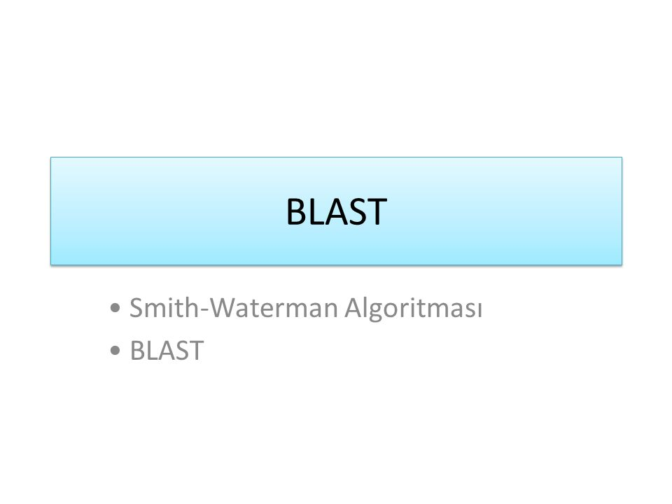 BLAST Smith-Waterman Algoritması BLAST