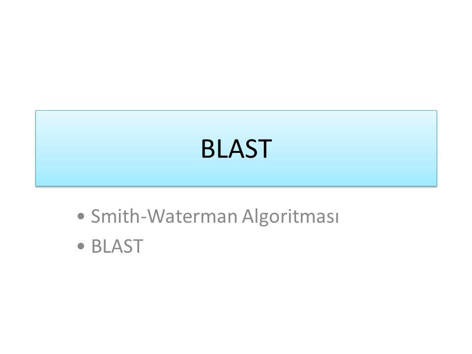 Smith-Waterman Hizalama Algoritması Algoritma Temel Özellikleri: 1.Kullanılan dinamik programlama 2.Hesaplanan puanlama matrisi 3.Boşluklar için Penaltılar: Daha fazla boşluklar ile bir hizalama daha az boşluk ile hizalanmış bir sekanstan daha iyidir.
