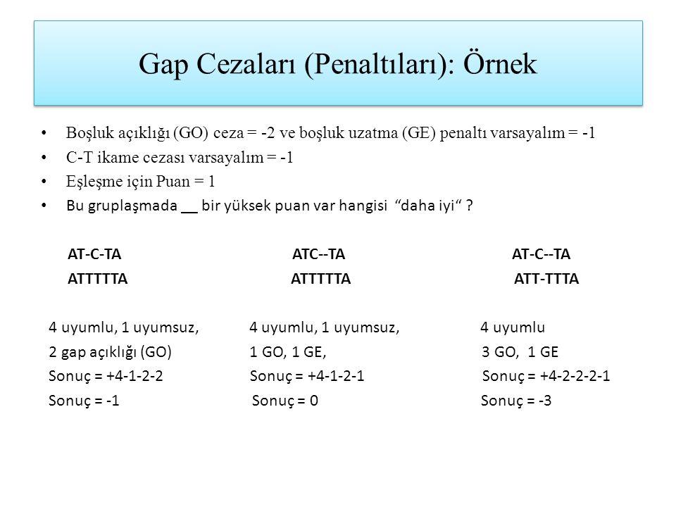Gap Cezaları (Penaltıları): Örnek Boşluk açıklığı (GO) ceza = -2 ve boşluk uzatma (GE) penaltı varsayalım = -1 C-T ikame cezası varsayalım = -1 Eşleşm